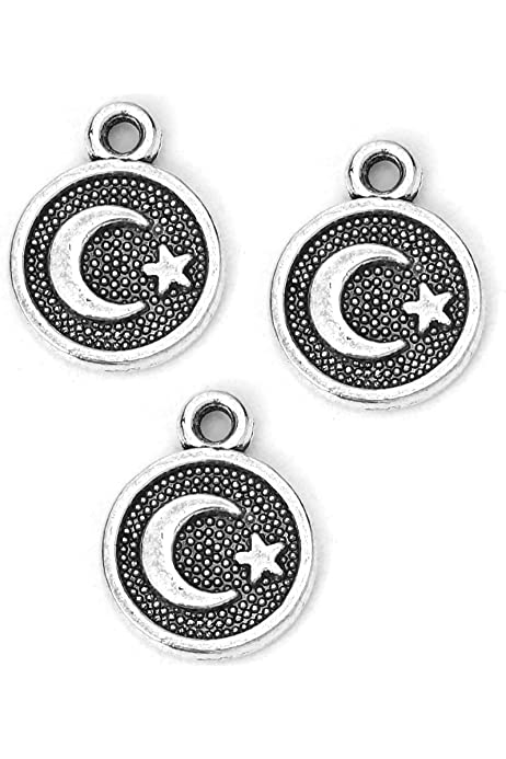 Jewelry Supplies Pendants Crescent Moon with Granulation Jewelry Findings Celestial Charms