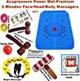 Super India Store Acupressure Power Mat With Magnets & Pyramids For Pain Relief With 2 Wooden Face Massagers