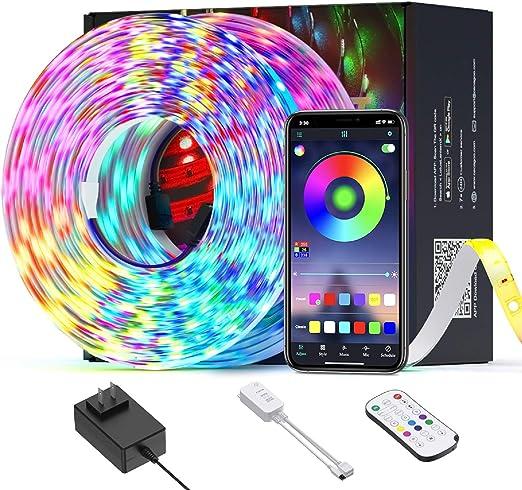 Luces de Tira LED WiFi, Ltteny tiras de LED 5050 SMD, tira de cambio de color RGB de brillo ajustable con control remoto y controlador para el hogar, bar, TV: Amazon.es: Iluminación