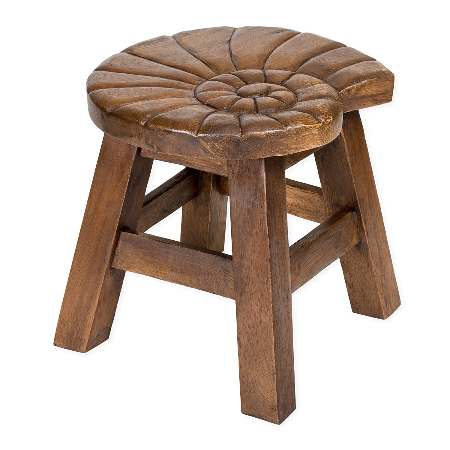 Nautilus Shell Stain Design Hand Carved Acacia Hardwood Decorative Short Stool Sea Island