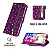 Glitter Wallet Case for iPhone XR,Strap Zipper
