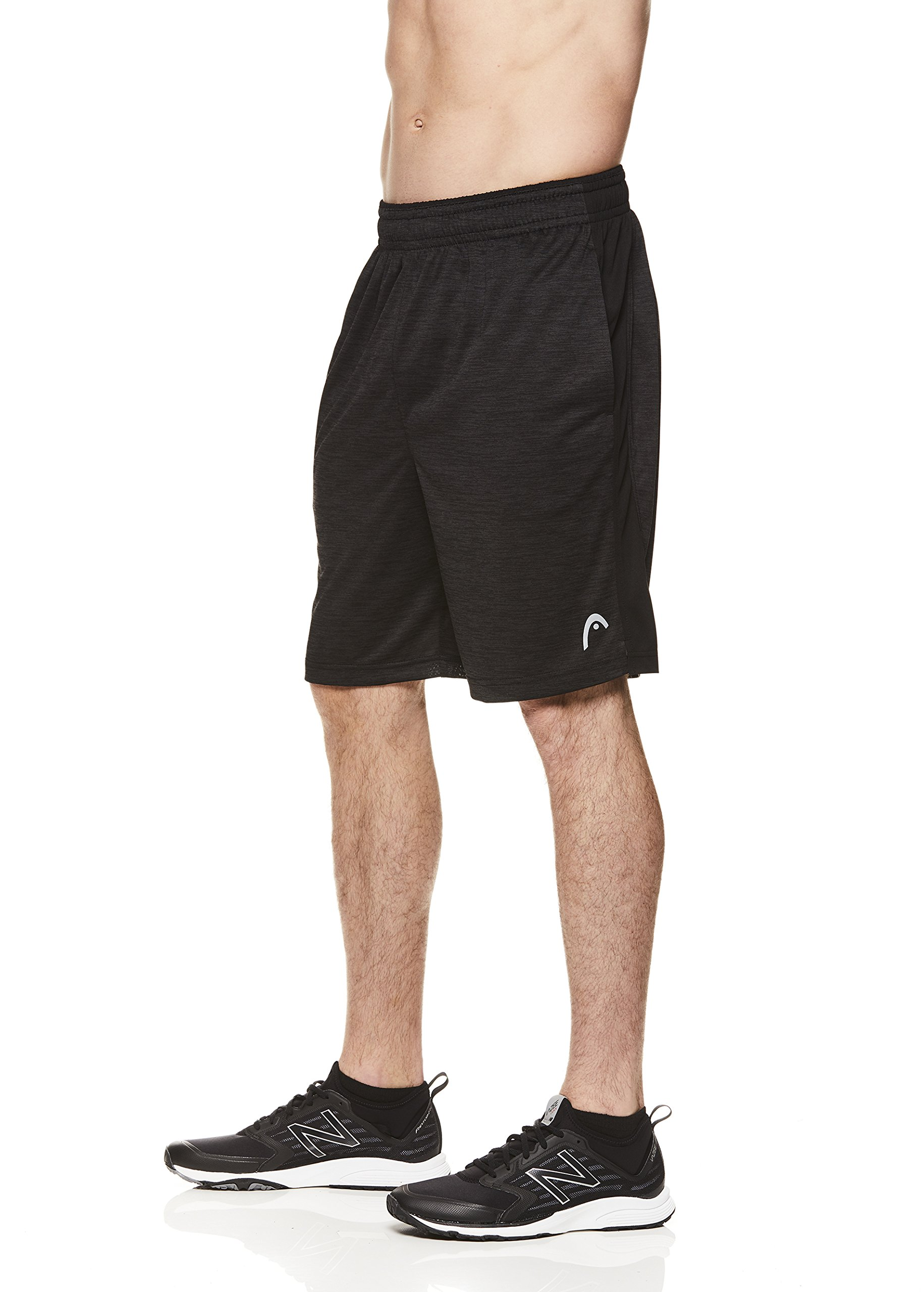 HEAD Men's Polyester Workout Gym & Running Shorts w/Elastic Waistband & Drawstring - Firestarter Black Heather, 2X