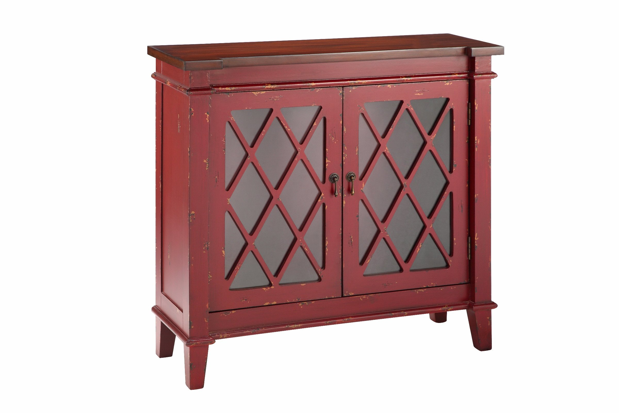 Stein World Furniture 2-Glass Door Cabinet, Red
