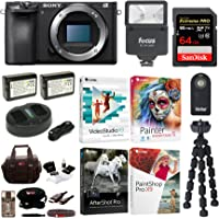 Sony a6500 Mirrorless Camera with Corel Software Suite and 64GB Accessory Bundle