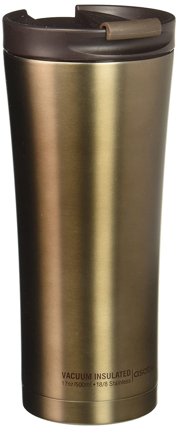 Asobu V700 Brown Manhattan Insulated Stainless Steel Coffee Mug - Large 17 oz Best Travel spill proof Coffee Cup Bpa Free