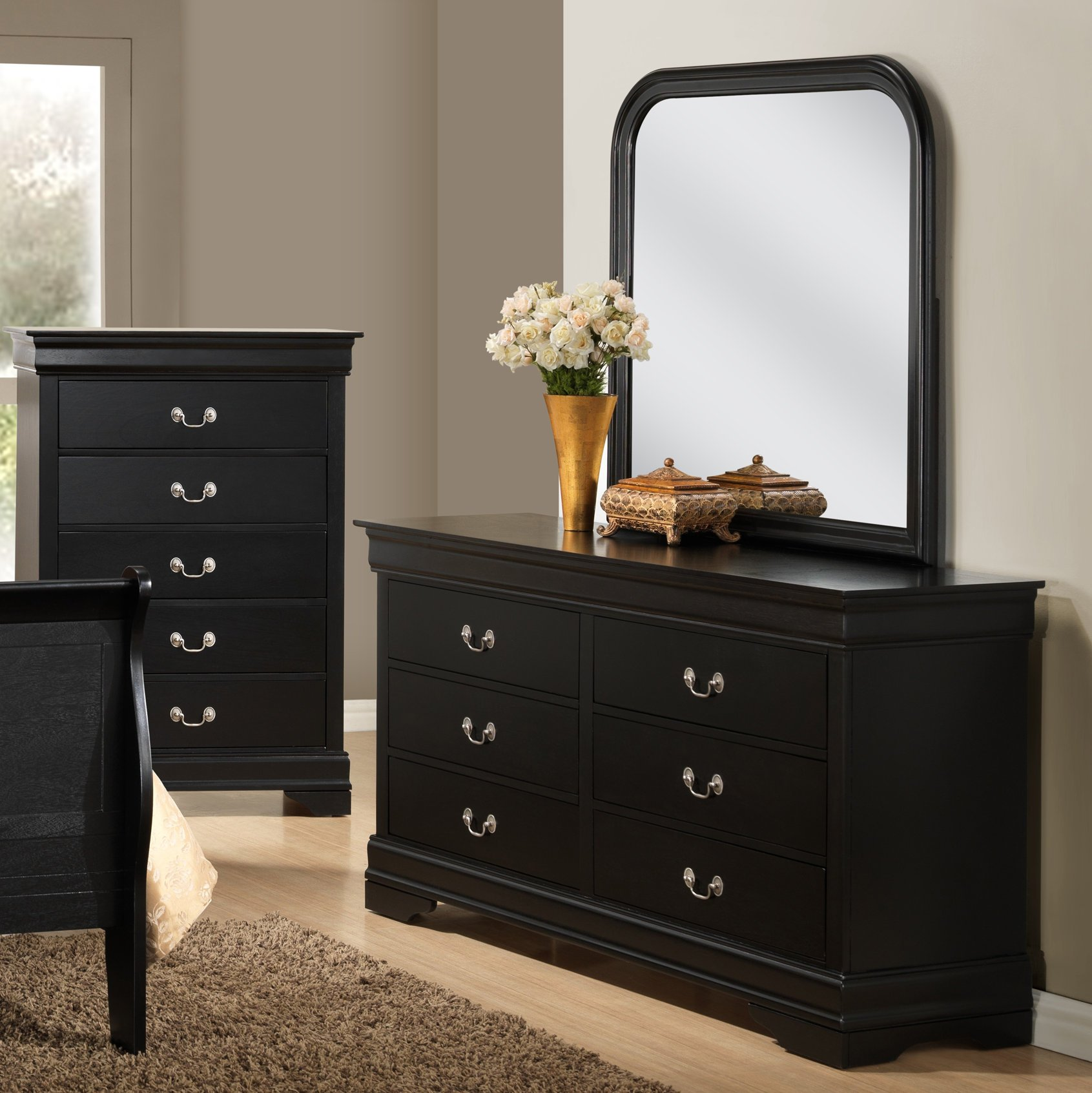 Roundhill Furniture Isony 594 Louis Philippe Style Wood Dresser with Mirror, Black