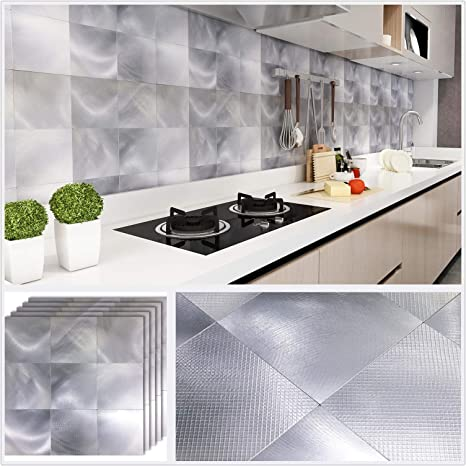Amazon Com Homeymosaic Peel And Stick Backsplash Tile For Kitchen 12 X12 Aluminum Surface 3d Wall Sticker Panel Metal Mosaic 9 Square 5 Sheets Gradient Silver Dining