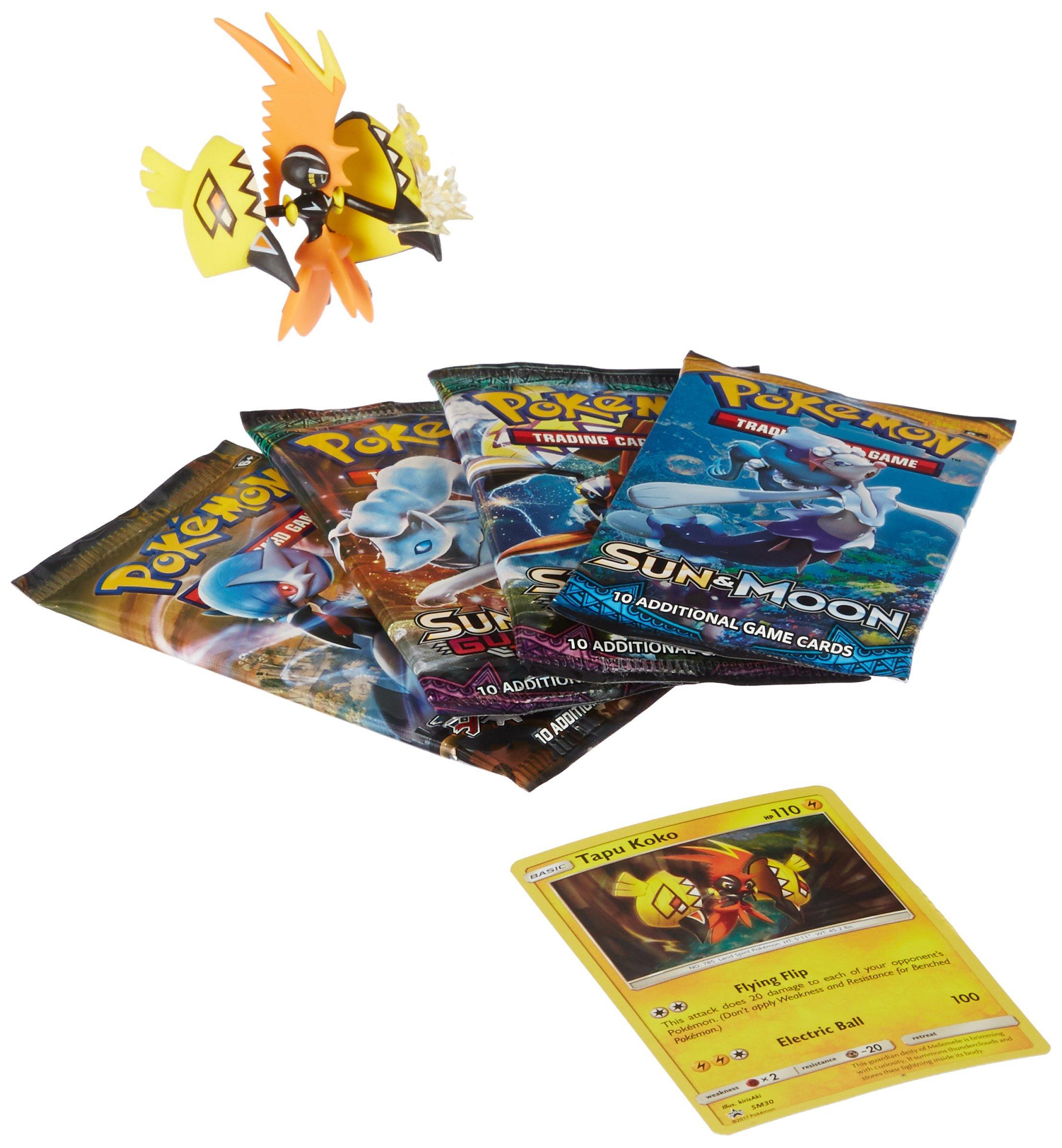 Pokemon TCG: Tapu Koko Figure Pokemon Box Collection - Features 4 Pokemon Booster Packs, Tapu Koko Pokemon Figure, Tapu Koko Pokemon Card and More!