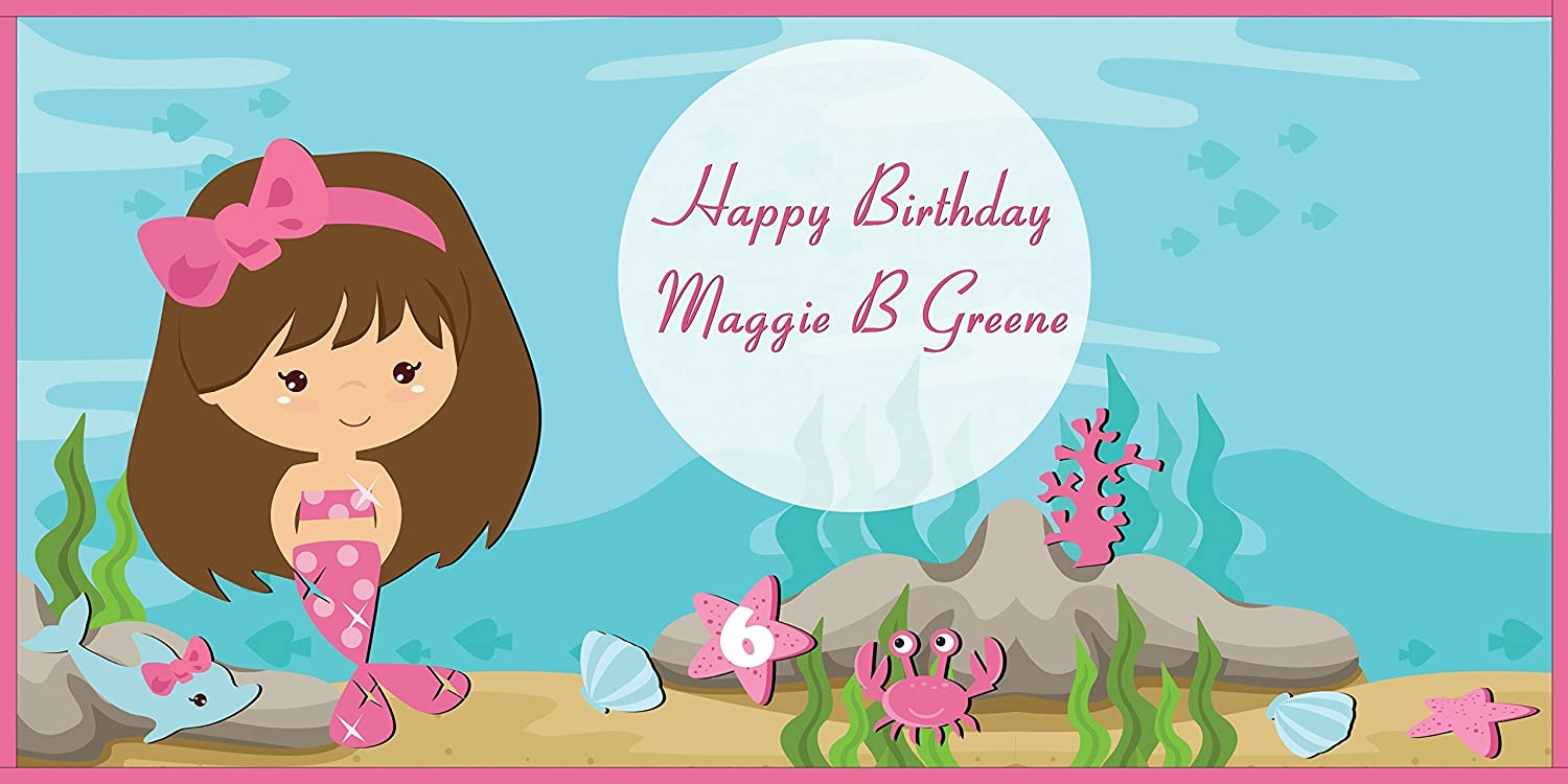 Handmade Party Supply Poster Print 48x36; Personalized Mermaid Birthday Banner Wall D/écor Custom Home D/écor Little Mermaid Birthday Poster for Girls 48x24 Size 24x36