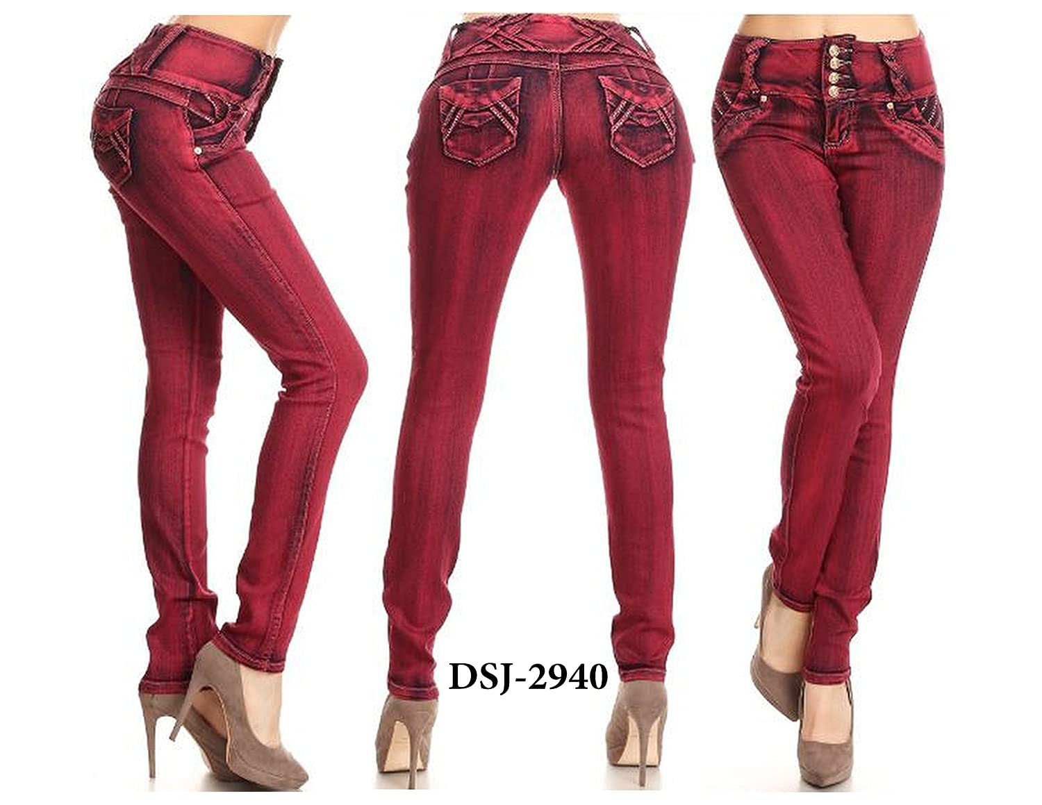 New diva star New Colombian Design Burgandy Color Stretch Skinny High Waist jeans-1-15 hot sale