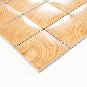 Fliesen Mosaik Mosaikfliese Bad Küche Keramik Quadrat Holz Braun 6mm Neu  #254