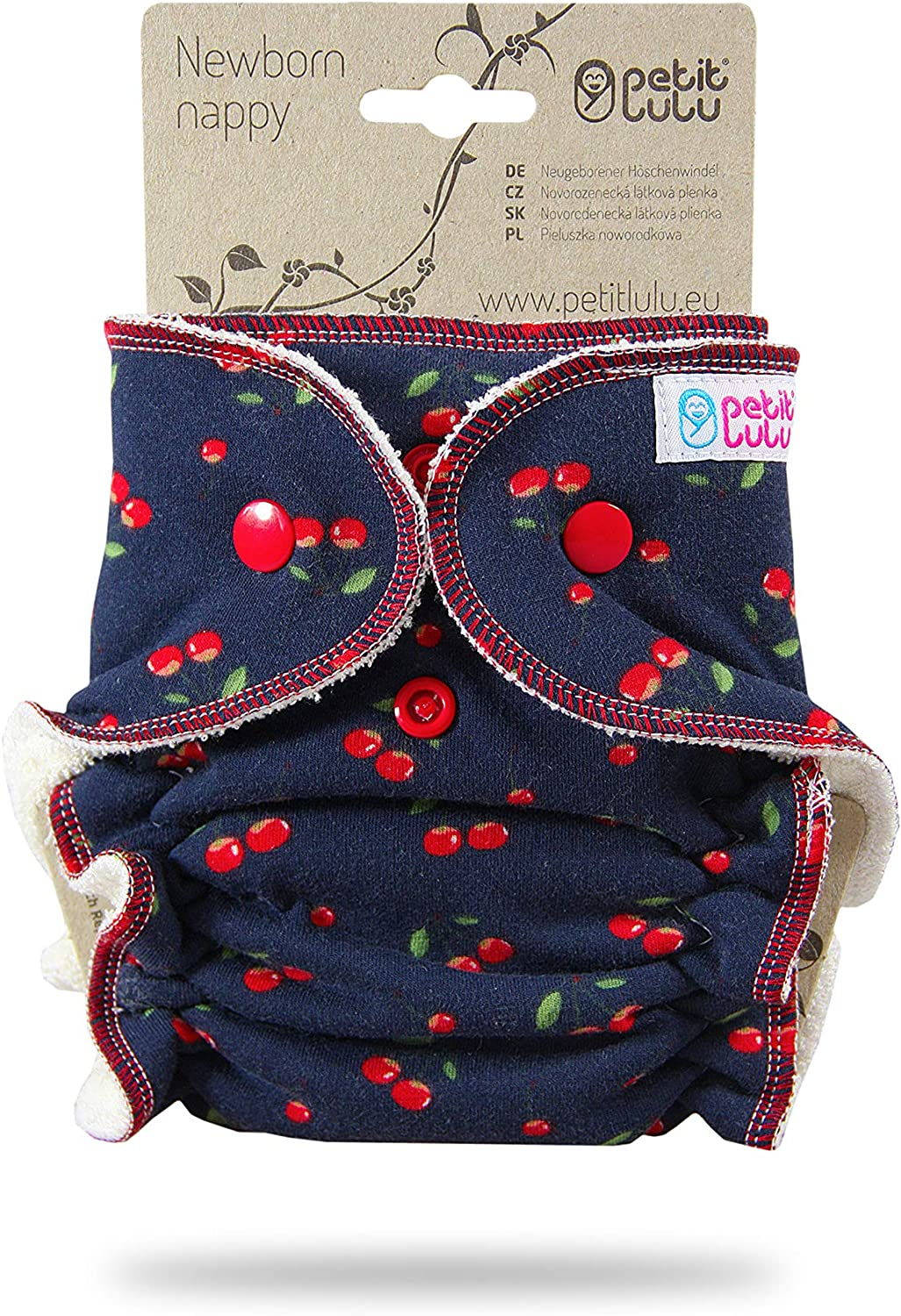Outer Material 95/% Cotton 5/% Elastane Animals on Trip Snaps Made in Europe Reusable /& Washable Petit Lulu Bamboo Fitted Newborn Diaper
