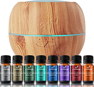 ArtNaturals Aromatherapy Essential Oil and Diffuser Gift Set - (150ml Tank & Top 8 Oils) - Peppermint, Tee Tree, Lavender & Eucalyptus - Auto Shut-Off – Therapeutic Grade