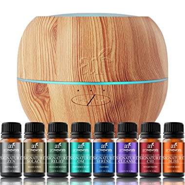 ArtNaturals Essential Oil Blends and Diffuser Set – (8 x 10ml Oils, 150ml Tank) – Aromatherapy Gift Set – LED Lights and Auto Shut Off – for All Rooms