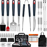 EUHOME Grilling Accessories BBQ Grill Tools Set Heavy Duty Utensils 31 PCS Set, Thick Stainless Steel Utensils for Smoker, Ca