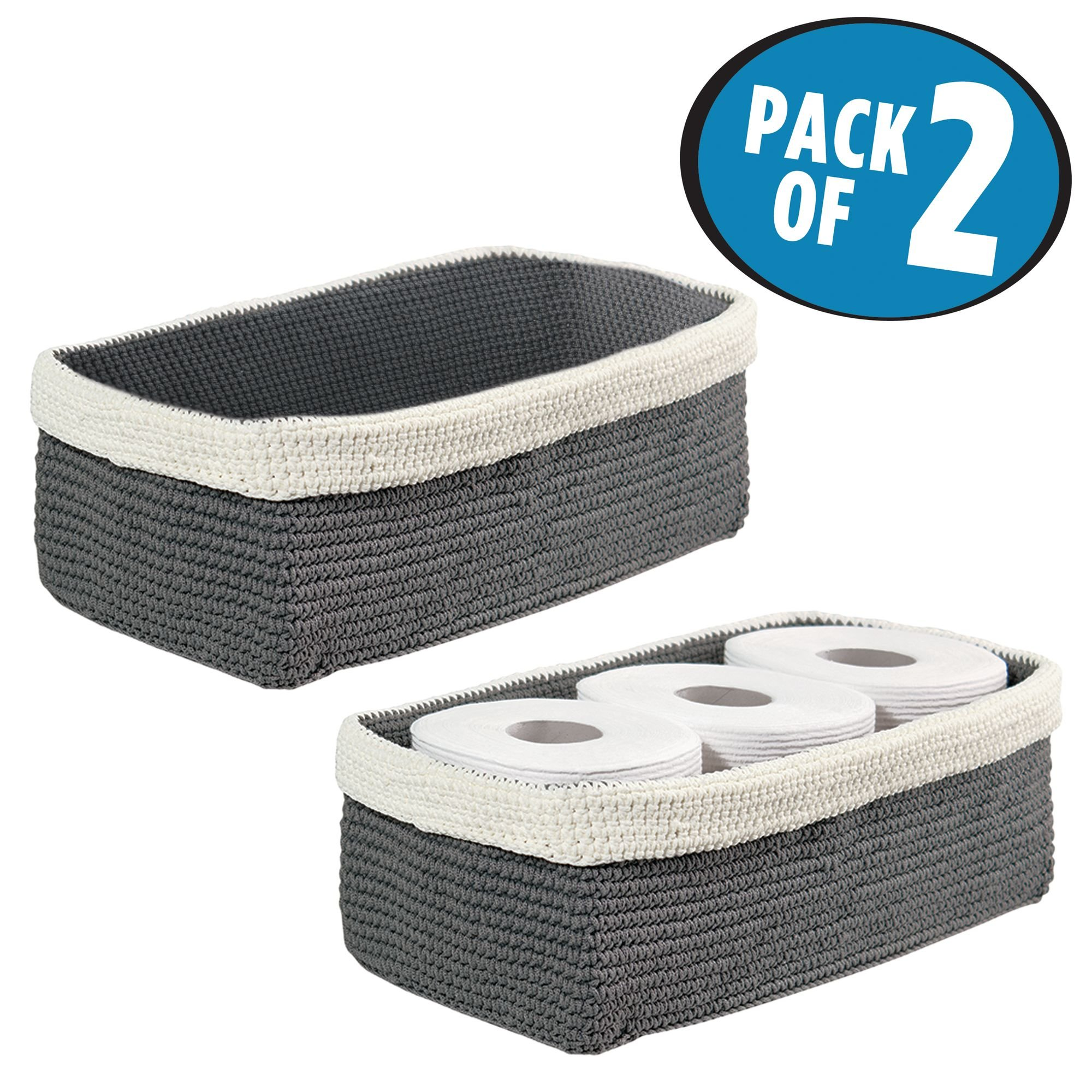 mDesign Knit Organizer Bin for Towels, Toilet Paper Rolls, Books - Pack of 2, Gray/Ivory