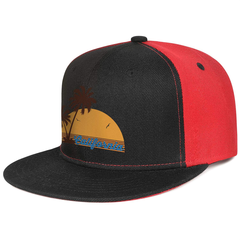 KYTKYTT Unisex Mesh Snapback Caps California Palm Tree Flat Hip Hop Baseball Hat