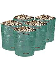 Schramm 5Unidades Saco de Jardín 500L Verde Resistente Polipropileno Tejido Jardín Bolsas Saco de Jardín Sacos Big Bag 500litros de Capacidad 5Unidades en Set