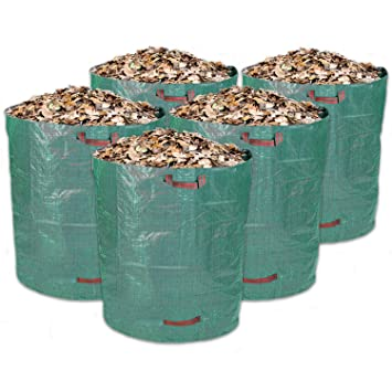Schramm 5 Unidades Saco de Jardín 500L Verde Resistente Polipropileno Tejido Jardín Bolsas Saco de Jardín Sacos Big Bag 500 litros de Capacidad 5 ...