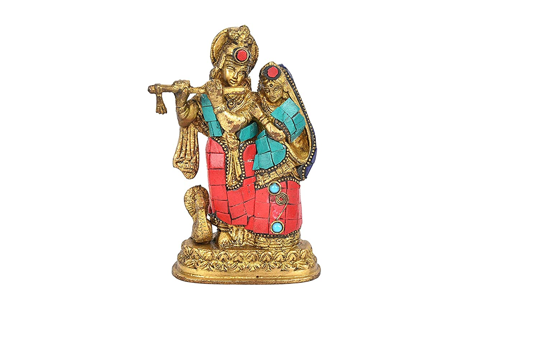 Purpledip Radha-Krishna Brass Metal Statue Idol With Gemstones For Home Temple Hindu Religious Gift 10741 Office Table or Shop Mandir Puja Shelf