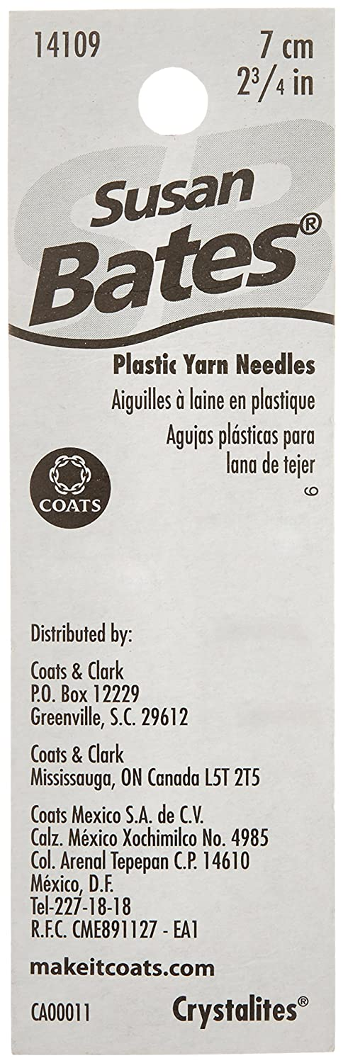 2 Per Package Susan Bates Crystallites Plastic Yarn Needle colors may vary 2-3//4-Inch