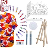 Kids Art Set for Girls – 28 Piece Acrylic Painting Supplies Kit with Storage Bag, 12 Washable Paints, 1 Scratch Free…