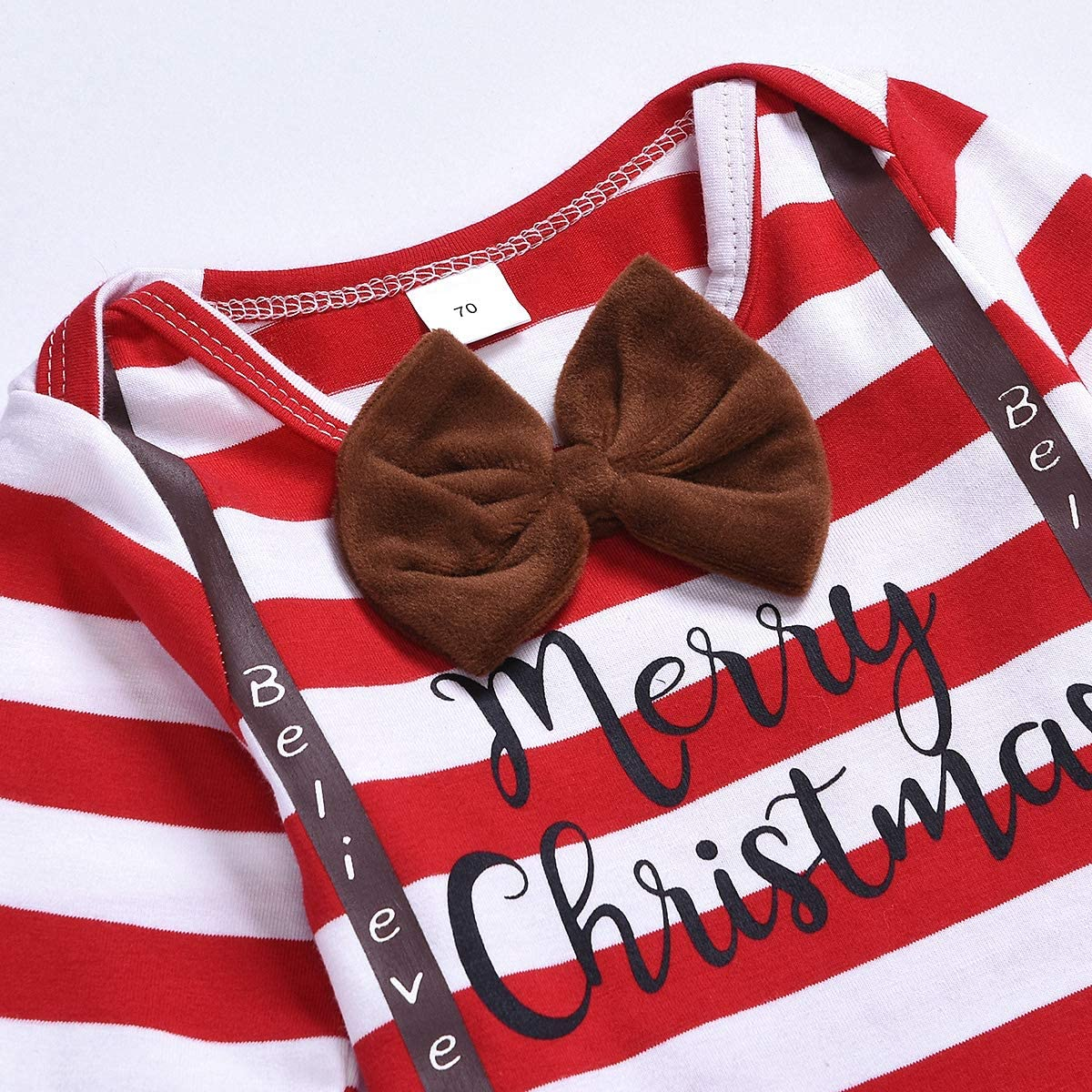 Borlai Baby My 1st Christmas Gentleman Outfit set pagliaccetto pantaloni cappello casalinghi 3-24 mesi