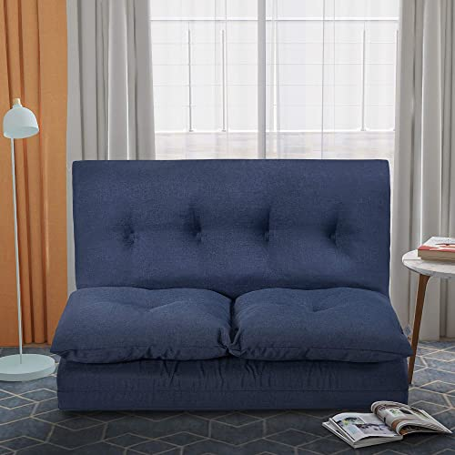 Adjustable 5-Position Floor Chair Folding Lazy Sofa Padded Floor Chair, Blue