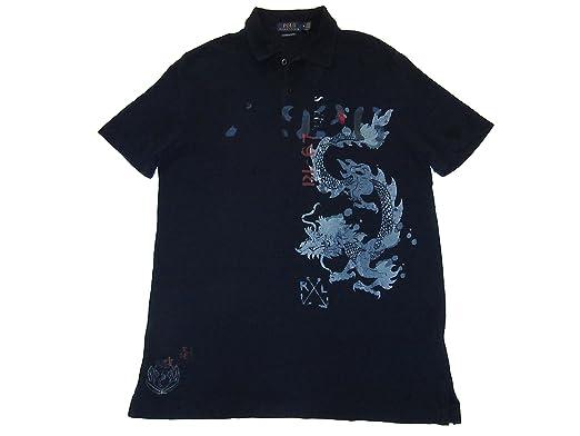 0d8ca033 RALPH LAUREN Polo Mens Indigo Dyed Dragon Graphic Polo Shirt Blue (Medium)