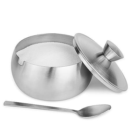 Amazon.com: Azucarero mate con cuchara y tapa: Kitchen & Dining