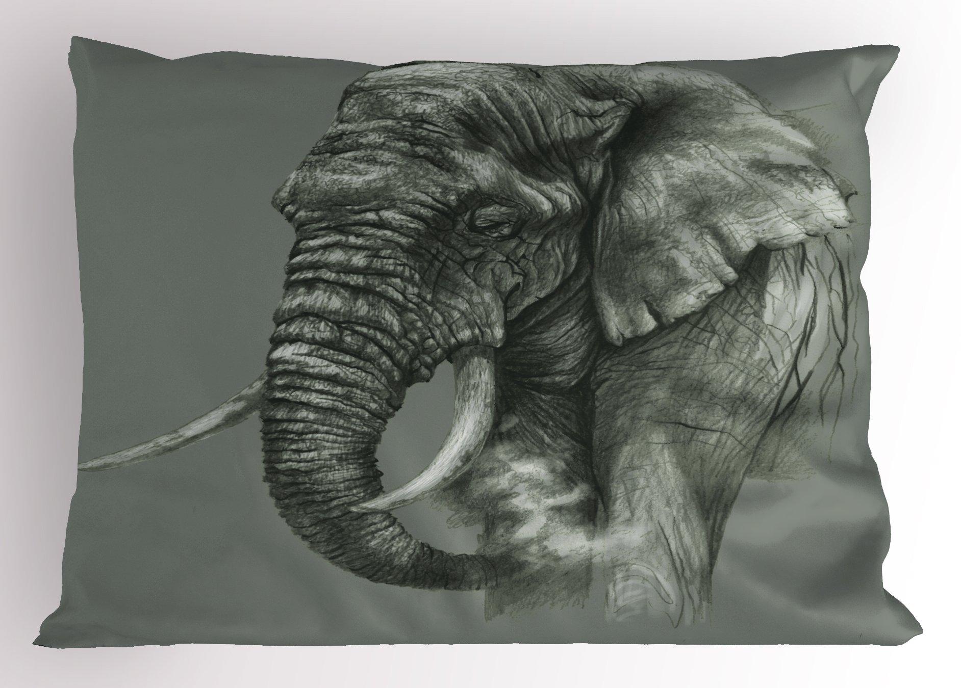 Lunarable Animal Pillow Sham, Rough Sketch Portrait of African Elephant Safari Spiritual Mammal Artsy Picture Print, Decorative Standard Queen Size Printed Pillowcase, 30 X 20 inches, Dark Grey