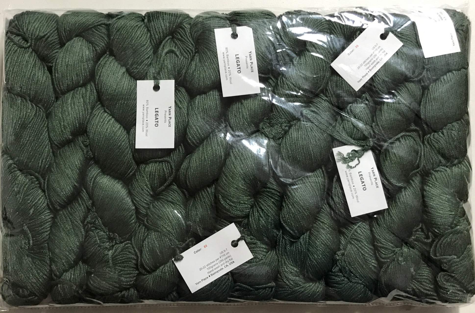 Yarn Place Legato 80% Bamboo and 20% Wool Yarn 100g 250 Yards DK (Dark Green (03))