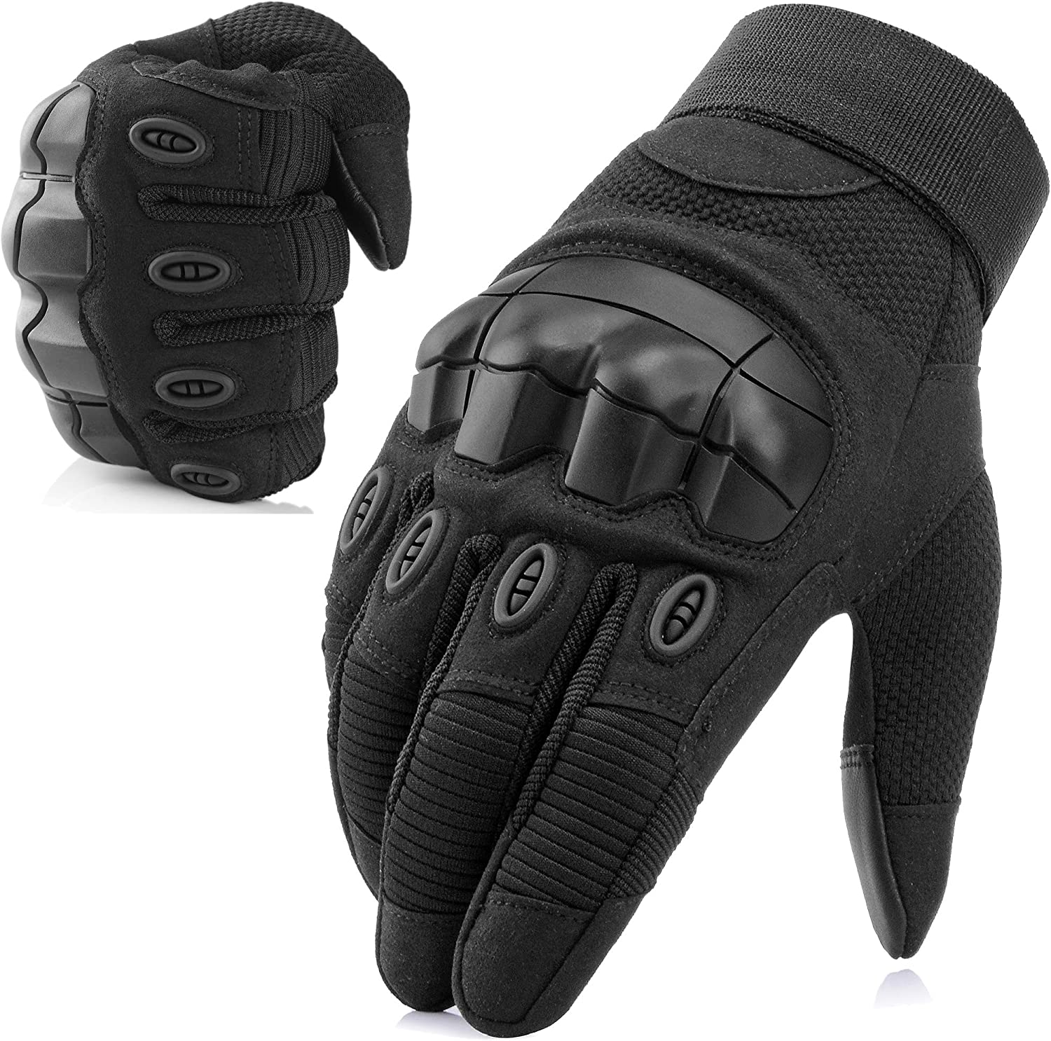 WTACTFUL Army Military Tactical Touch Screen Full Finger Gloves, black color, rubber jnuckle guards and made with microfiber artificial leather.