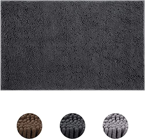 HOMEIDEAS Durable Chenille Indoor Doormat, 30 x48 , Machine Washable, Non Slip Indoor Mat for Entryway, Absorbent Inside Doormats for Entrance, Mud Room, Back Door, Bathroom, Car Trunk, Dark Gray
