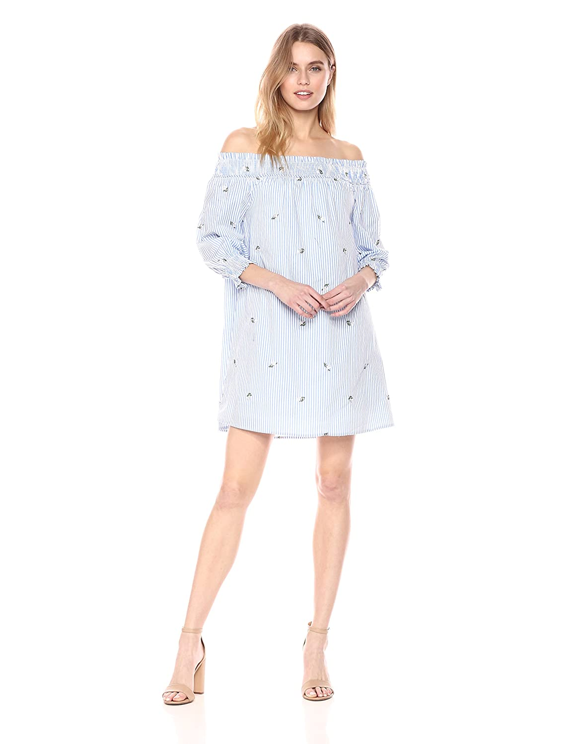 bluee ivory stripe J.O.A. Womens LACE UP Front Off The Shoulder Smocked Floral Dress Casual Dress