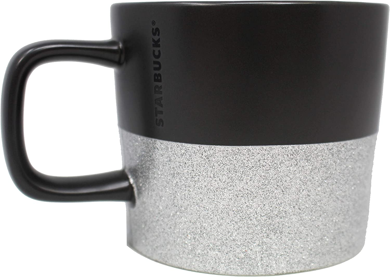 Starbucks 2018 Holiday Mug Black with Silver Glitter 12 Oz