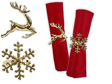 Natale Stoviglie Set Di 4 Metallo Tovagliolo Anelli