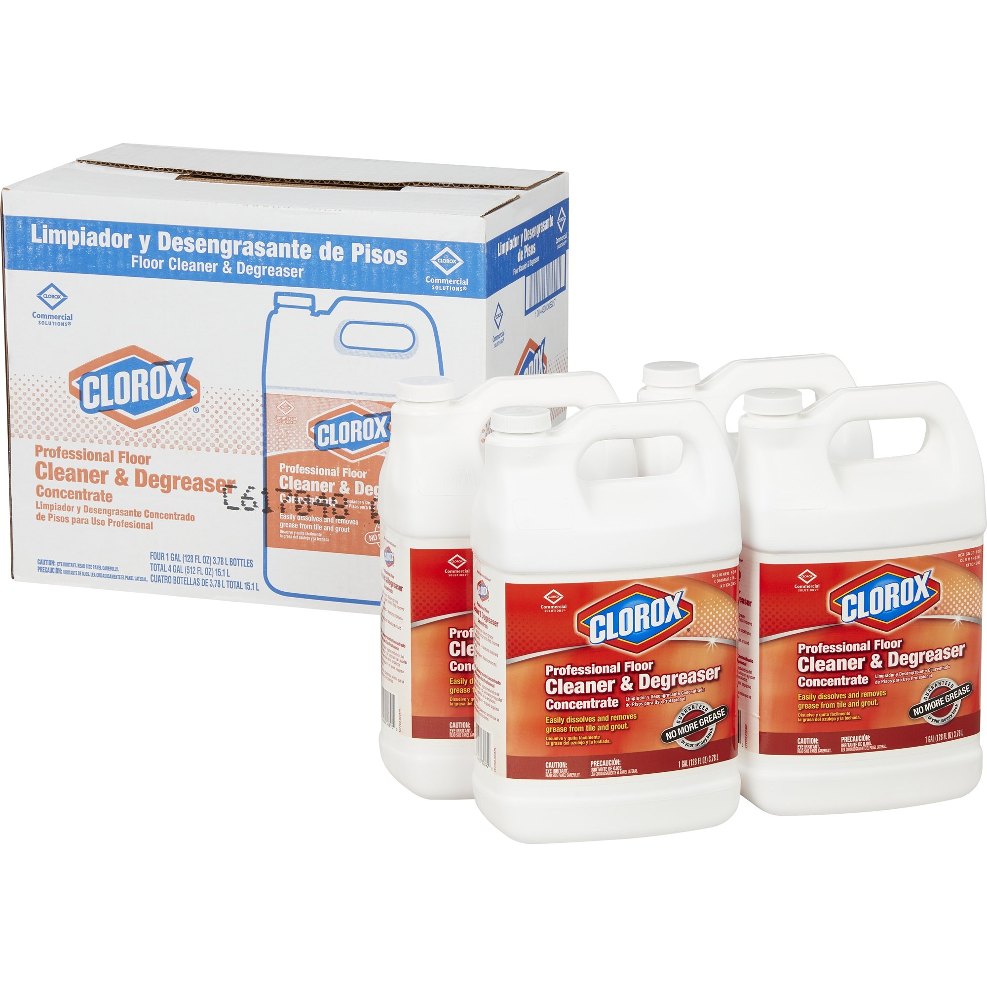 Clorox Professional Floor Cleaner & Degreaser Concentrate, 128 Ounces, 4 Bottles/Case