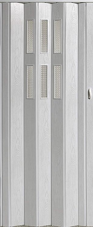 Puerta plegable corredera puerta blanco pulido con ventana con candado Altura 202 cm ancho de montaje hasta 84 cm Doble pared Perfil nuevo top Calidad: Amazon.es: Bricolaje y herramientas