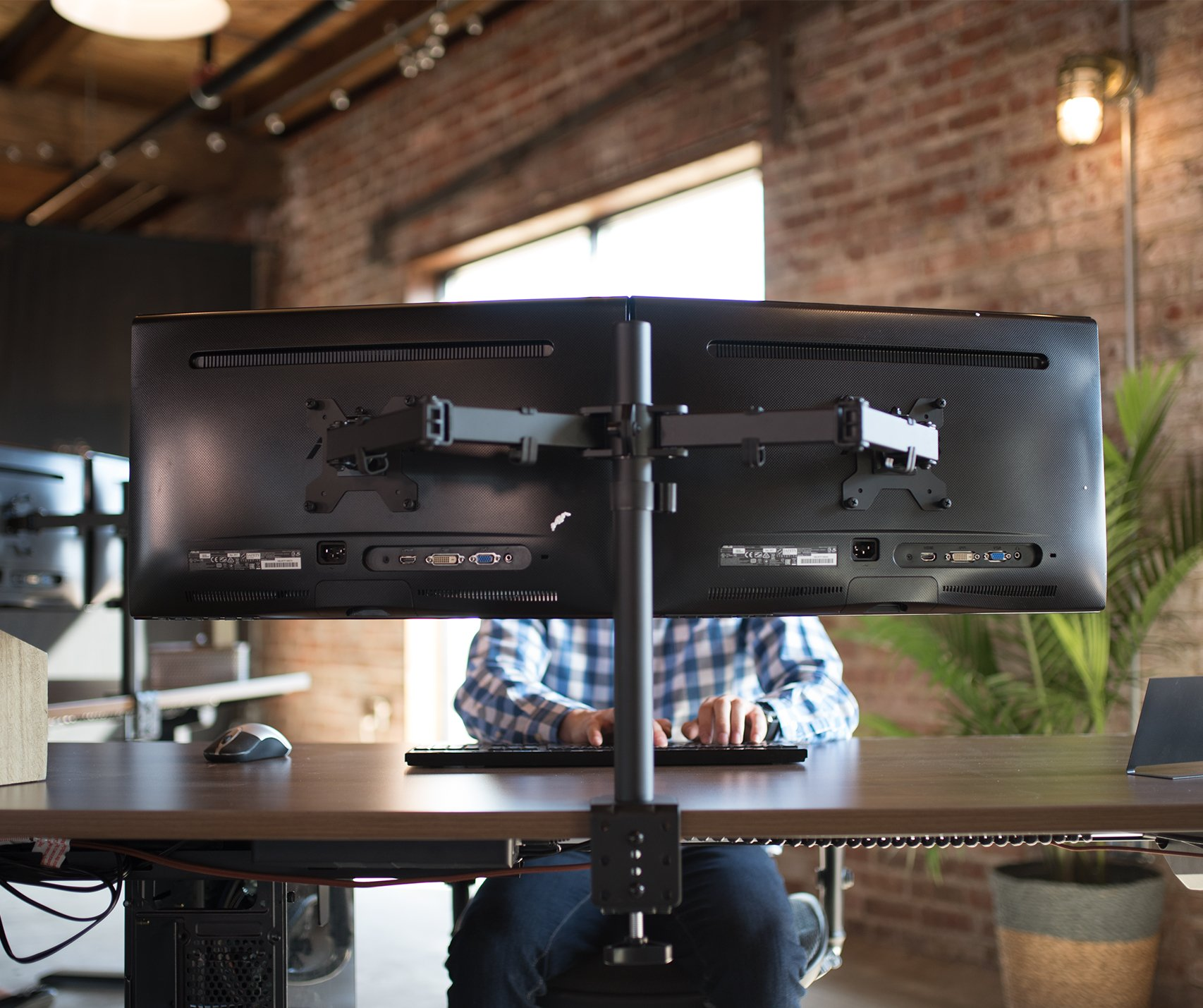 VIVO Dual LCD LED Monitor Desk Mount Stand Heavy Duty Fully Adjustable fits 2/Two Screens up to 27'' (STAND-V002) by VIVO (Image #8)