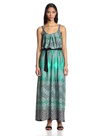 NY Collection Women's Sleeveless Pleat Front Maxi Dress with Self Tie, Curtain, Small