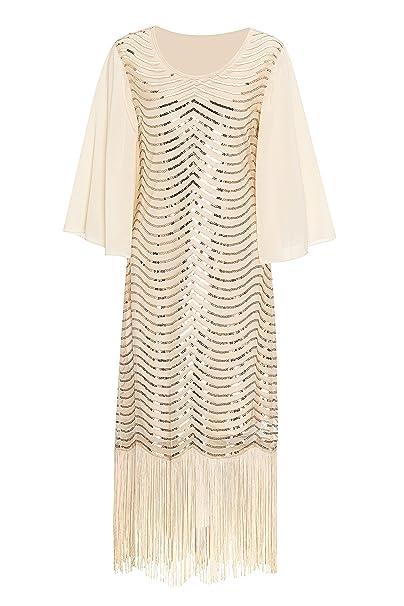 Metme Mujer Vintage inspiró el vestido de la aleta del tema de Gatsby del cuello cremallera