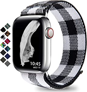 Compatible with Apple Watch Band 38mm 42mm 40mm 44mm Braided Solo Loop for Apple Watch Series 3 6 5 4 2 1 (Grid S 42mm/44mm)