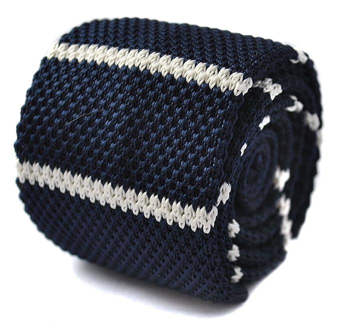 Frederick Thomas - Corbata de punto, diseño de rayas, color azul ...