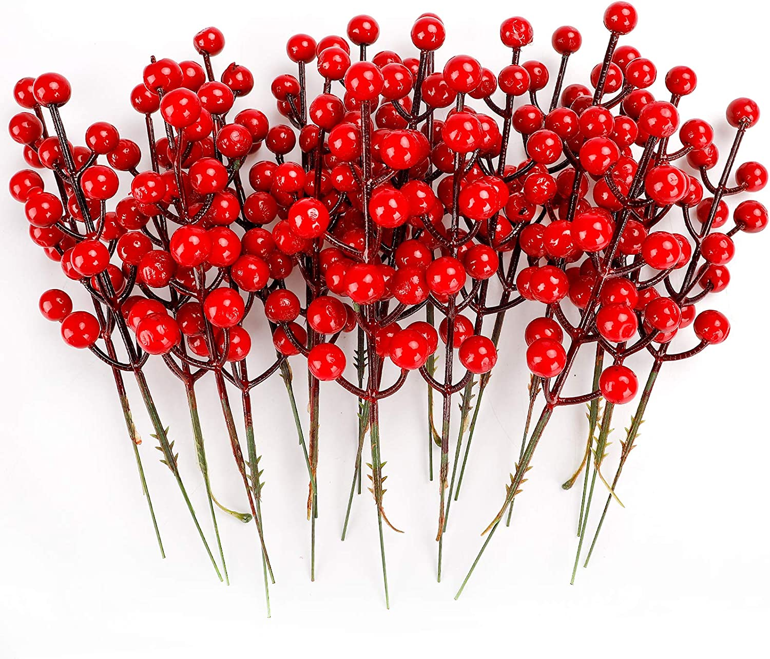 TELDRASSIL 46-Pack Red Christmas Berries Stem Artificial Holly Berry Stem for Christmas Tree Decorations, Crafts, Holiday and Home Decor