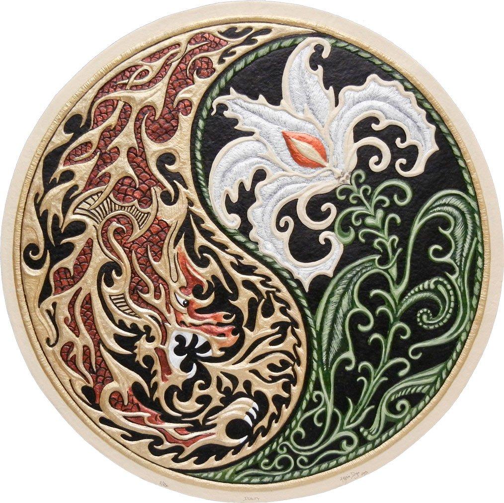 Duality - Cast Paper - Fantasy art - Dragon - Lily - Yin-Yang - Wall art