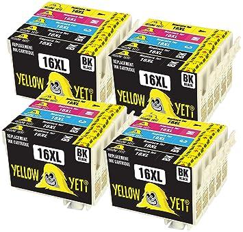 Yellow Yeti Reemplazo para Epson 16 16XL | 20 Cartuchos de Tinta ...