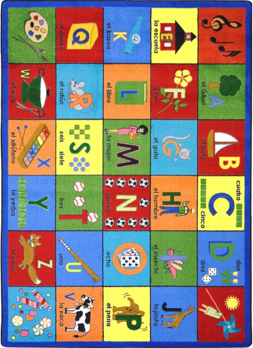 Joy Carpets Kid Essentials Language Literacy Bilingual Phonics Rug, Multicolored, 7 8 x 10 9