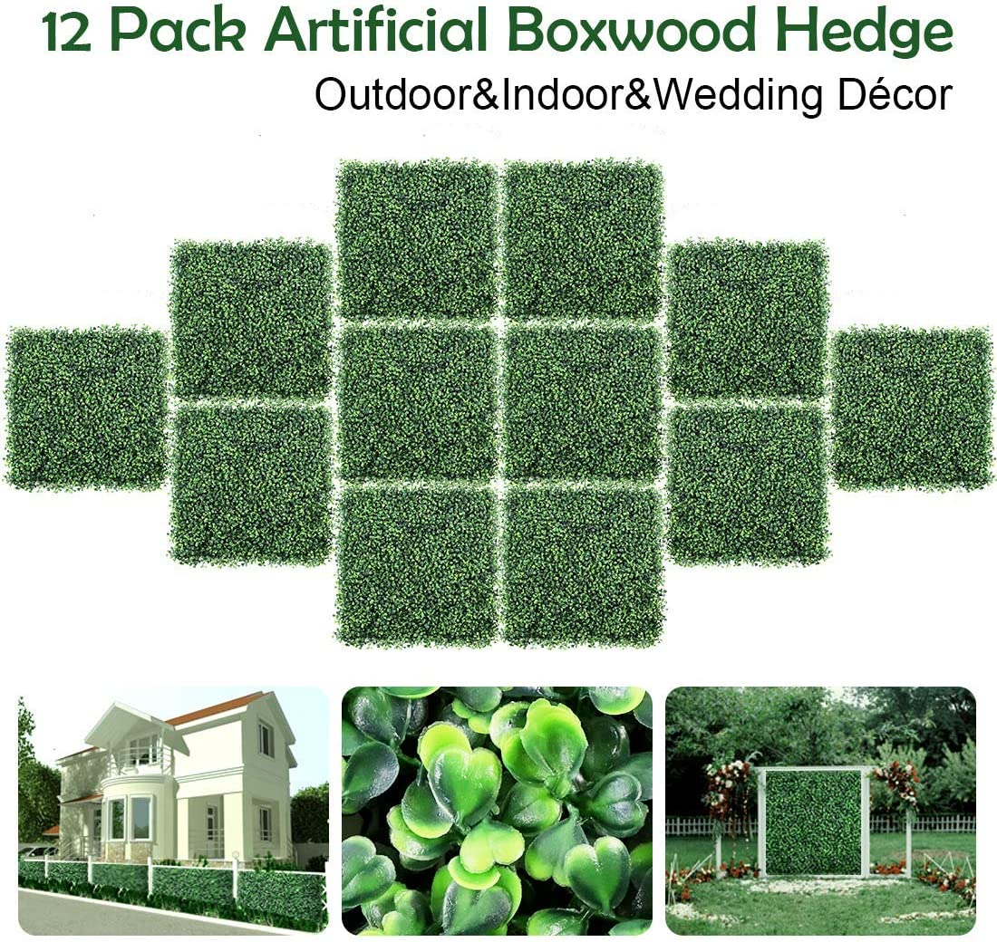 """DEWVIE Artificial Boxwood Panels Topiary Hedge Plant,Privacy Hedge Screen Suitable for Outdoor,Indoor, Garden, Fence, Backyard and Home Decor Greenery Walls 12 Pieces 20""""x 20"""""""