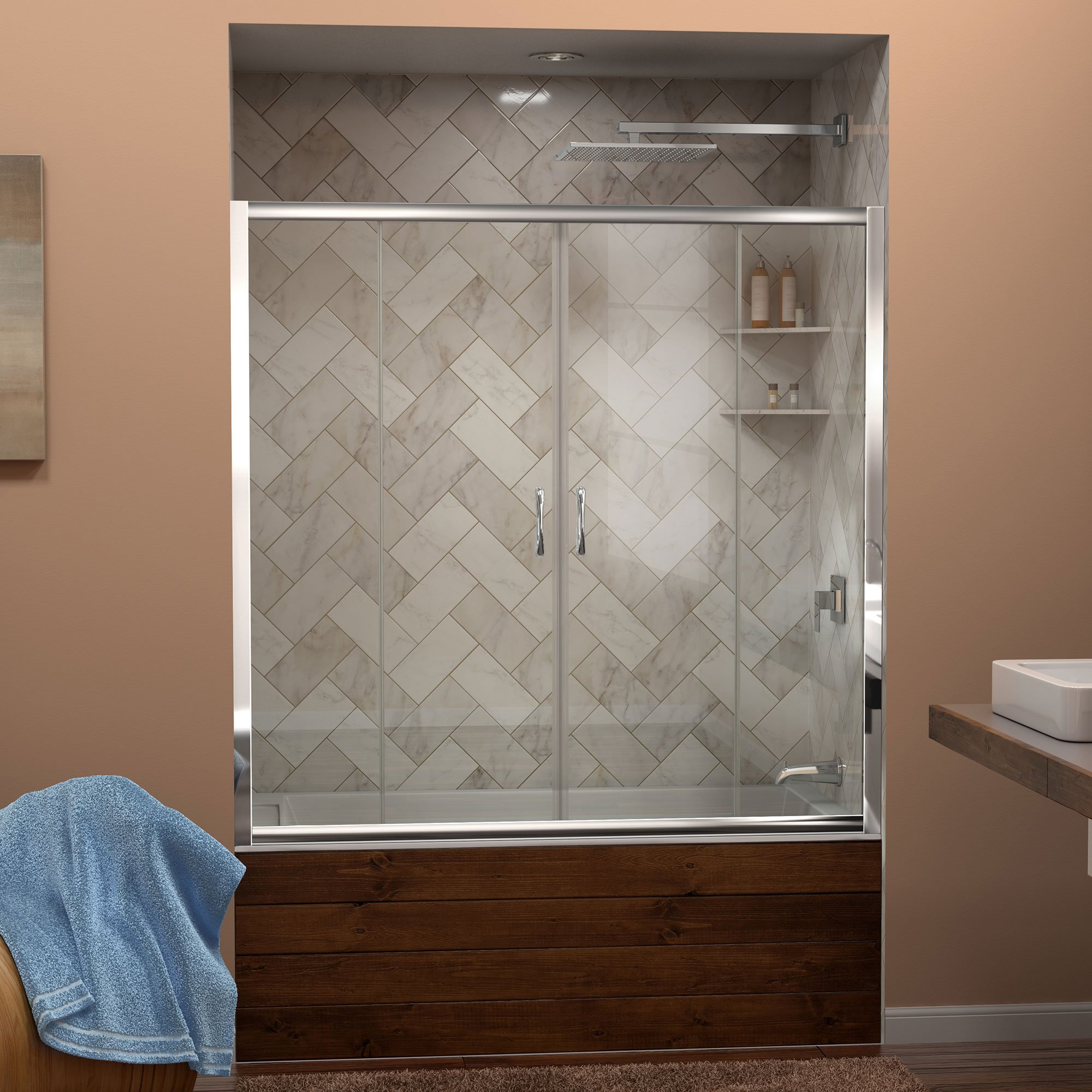 DreamLine Visions 56-60 in. Width, Frameless Sliding Tub Door, 1/4'' Glass, Chrome Finish